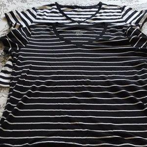 Tops - Two black/white striped tee shirts